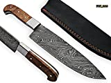 RK-2118 Style Damascus Steel Chef Knife – beutifull Olive wood Handle with Steel bolster