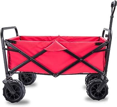 AYHa Carro plegable, capacidad 90 kg, carro de jardín portátil con 4 ruedas y frenos de acero, carro, carro de transporte de mano plegable plegable, H: marrón,C: Rojo: Amazon.es: Bricolaje y herramientas