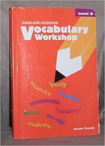 Vocabulary Workshop: Level D by Jerome Shostak (2002-09-06)