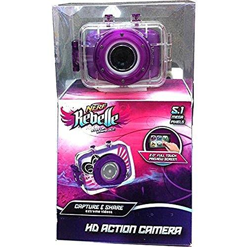 Nerf Rebelle Purple 5.1 Megapixel HD Children's Action Sports Camera kit with Waterproof Housing Helmet Bike Mount and Nerf Blaster (Best Nerf Digital Cameras)