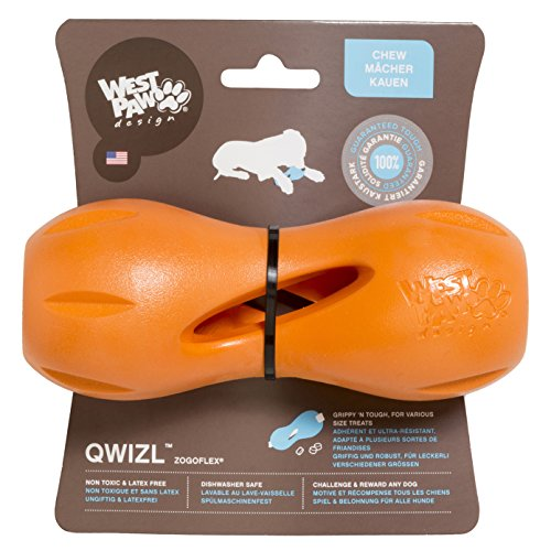 Interactive Treat Toy (West Paw Zogoflex Qwizl Interactive Treat Dispensing Dog Puzzle Treat Toy for Dogs, 100% Guaranteed Tough, It Floats!, Made in USA, Large, Tangerine)