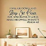 Sleep In Peace Bible Verse Safety PSALM Art Vnyl Wall Sticker Decal Decor Bedroom