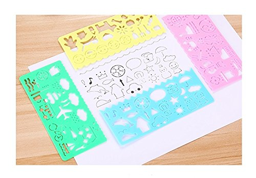 Children Drawing Template Rulers Lovely Ruler Gift For Kids School Supplies, Preschool Toys,New 4 color different types (Ruler Type)