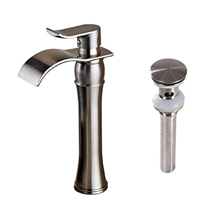 Votamuta Waterfall Spout Single Handle Bathroom Sink Vessel Faucet ...