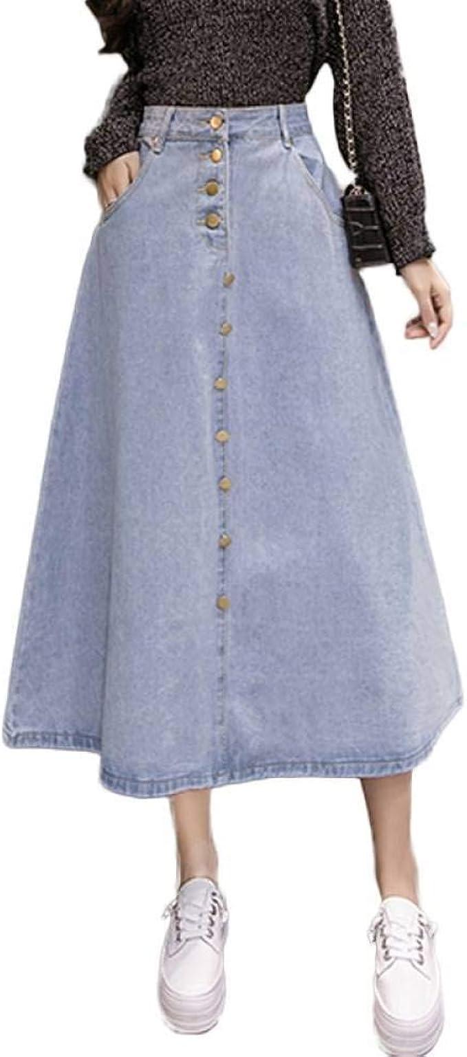 GYYWAN Falda De Mezclilla para Mujer Tallas Grandes Jeans Largos ...