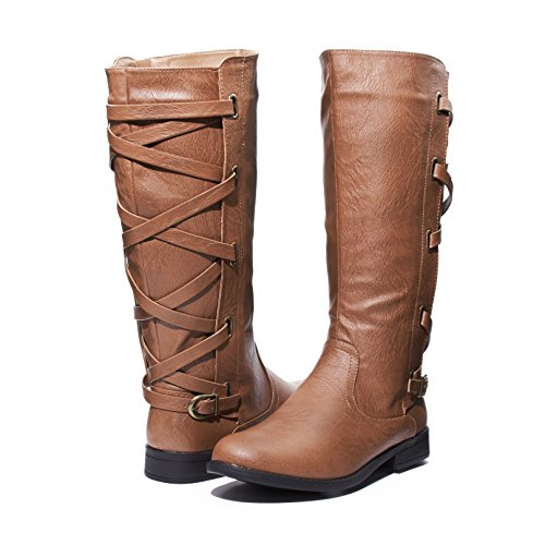 Sara Z Ladies Riding Boot With Lace Up Back Strap (See More Colors & Sizes) (6, Cognac) (Lacing Front Boot Ankle)