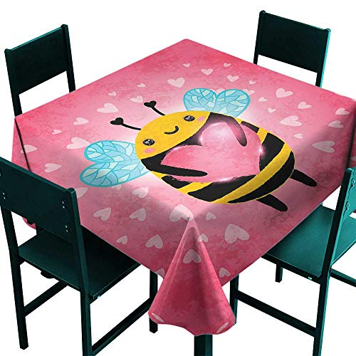 ScottDecor Queen Bee Tablecloth Custom Love Valentines Day Bumblebee Holding a Giant Heart Cartoon Style Coral Pale Blue Yellow Small Square Tablecloth W 36