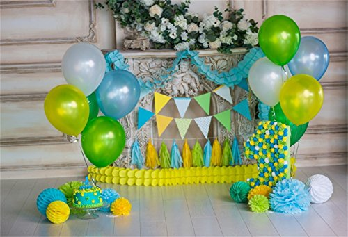 Laeacco Baby Birthday Backdrop 10x6.5ft Vinyl Indoor Fireplace Greenery Balloon Bunches Bunting Tassels Paper Poms Number 1 Photography Background Baby Birthday Party Shoot Banner Cake Smash Wallpaper