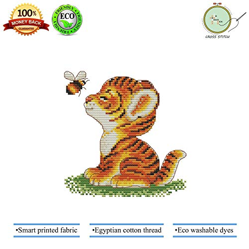 - Cross Stitch, Stamped Cross Stitch Kit Quilt Pre Printed Cross-Stitch Patterns for Beginner Kids & Adults – Embroidery Crafts Needlepoint Starter Kits, Tiger and Bee