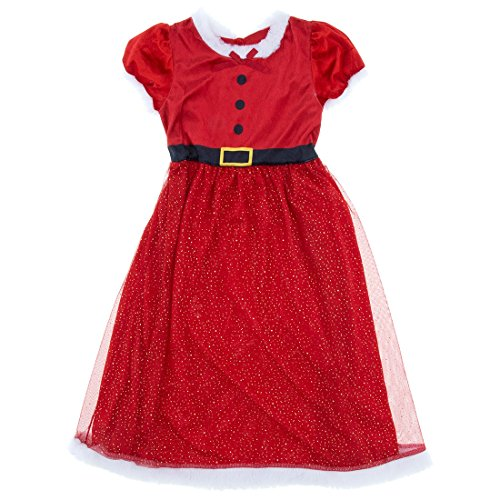 Komar Kids Big Girls' Miss Santa Red Holiday Nightgown M/7-8