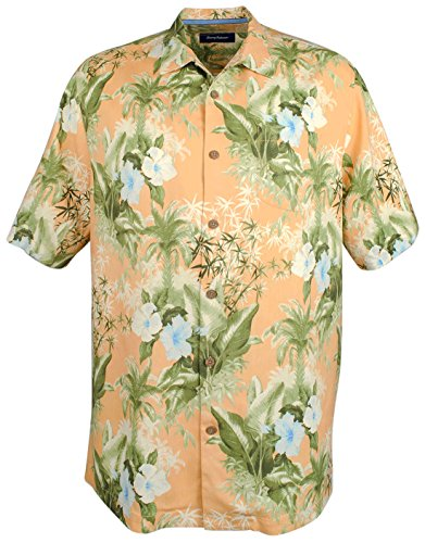 Tommy Bahama Men's Big & Tall Corfu Jungle Silk Camp Shirt (Satsuma) - Tommy Bahama Hawaiian Shirts