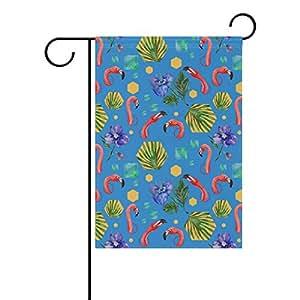 vantaso doble cara bandera de Jardín Watercolor Flamingo Tropical orquídeas UV decoloración moho resistente poliéster casa bandera para patios decorativo 12x 18inch