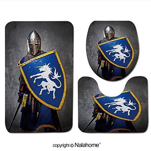 3 Piece Bath Rug Set Nalahome design-95623012 Medieval knight on grey background. Bathroom Rug(15.7