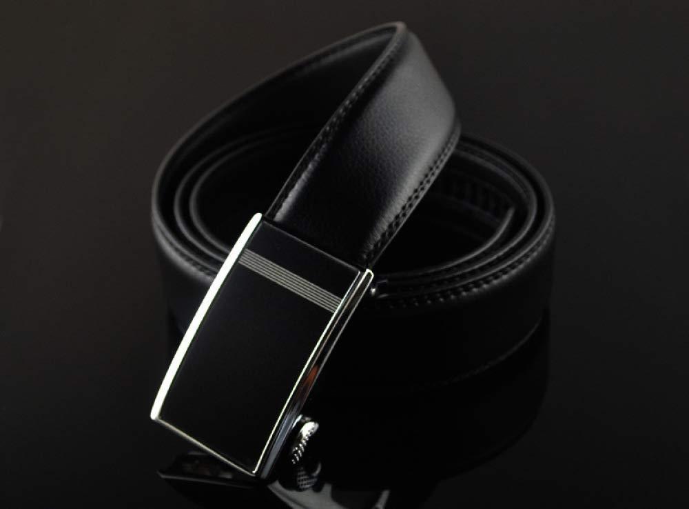 DENGDAI Mens Casual Belt Two-Layer Leather Belt Automatic Buckle Belt Length 100-135cm