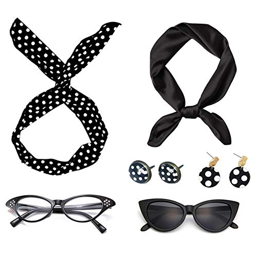 50's Costumes Accessories set for Women Girls -1950s Stretch Waist Belt Headbands Silk Scarf Cat Eye Glasses Earrings (Black #1) ()