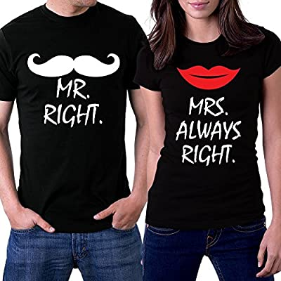 PicOnTshirt Mr Right Mrs Always Right Black Couple T-shirts
