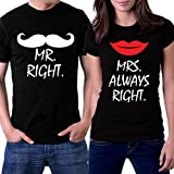 PicOnTshirt Mr Right Mrs Always Right Couple T-shirts Men XXL / Women XL Black