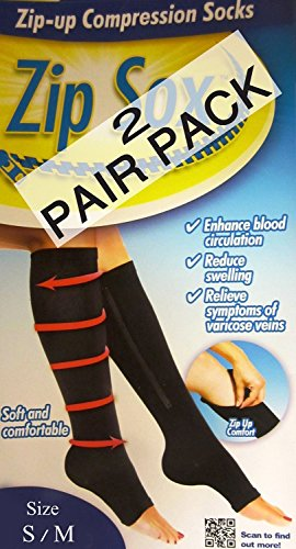 "Zipper Compression Socks S/M (as seen on TV) ""2 Pack"" (Bl..."