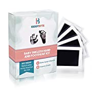 Baby Inkless Footprint & Handprint Kit with 4 Extra Large Ink Pads and 8 Imprint Cards by KiddyB, Perfect Baby Shower Registry Gift for Boys and Girls Photo Or Picture Frames