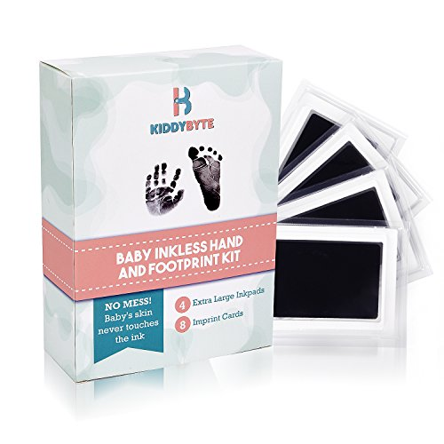 Baby Inkless Footprint & Handprint Kit with 4 Extra Large Ink Pads and 8 Imprint Cards by KiddyByte, Perfect Baby Shower Gift
