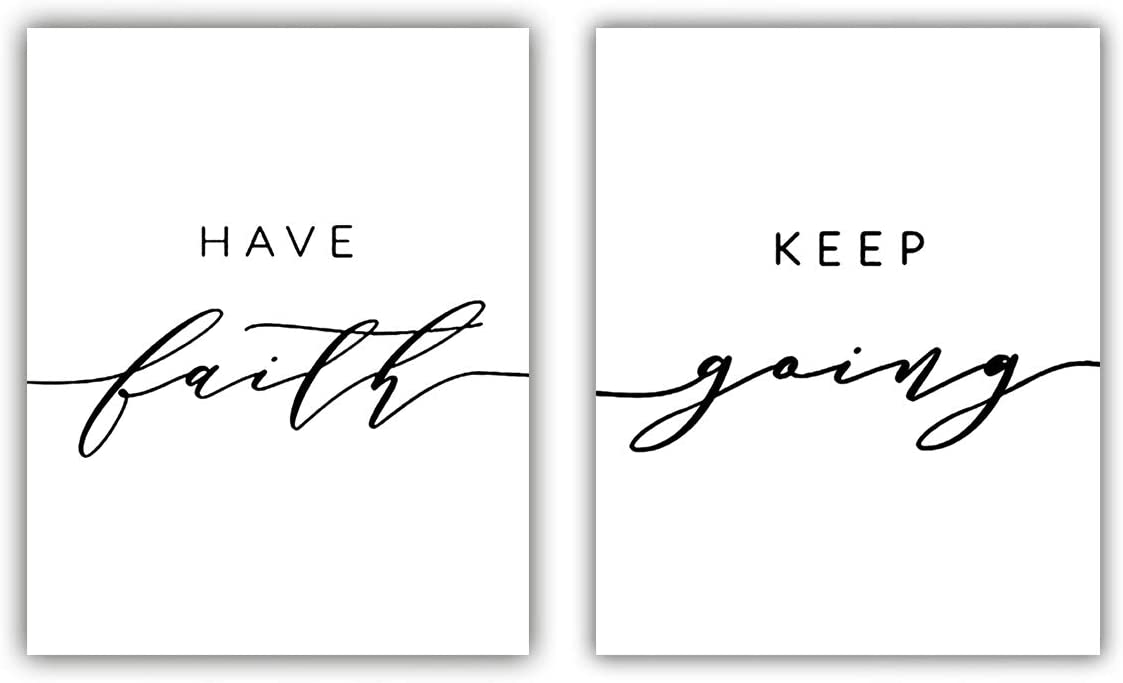 """Inspirational Quote Modern Art Painting Set of 2 (8""""X10"""" Canvas Picture), Have Faith Keep Going Painting Motivational Phrases Wall Art Print Poster for Office or Room Home Decor,No Frame"""