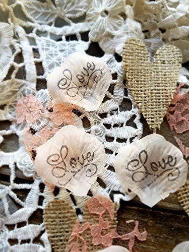 Burlap and Lace Heart Confetti Rustic Wedding Confetti ()