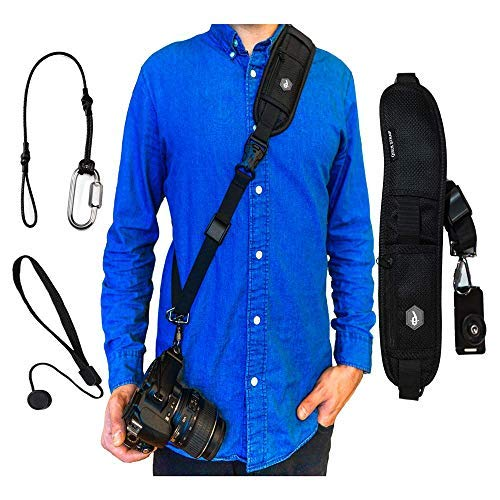 Dupe Accessories Quick Release Camera Neck Strap w/Lens Cap Leash, Safety Tether and Tripod Compatible