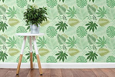 CostaCover Removable Wallpaper with Fresh Green Tropical Leaves Jungle illustration self adhesive wallpaper - peel and stick wallpaper CC092