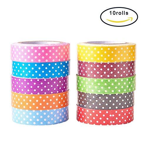 PandaHall 10 Rolls Single Face Polka Dot Pattern Printed Cotton Ribbon Adhesive Tape 15mm Width Mixed Color (Ribbon Printed Adhesive)