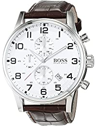 Silver Dial SS Leather Chrono Quartz Mens Watch 1512447