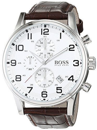 (Hugo Boss Silver Dial SS Leather Chrono Quartz Mens Watch 1512447)