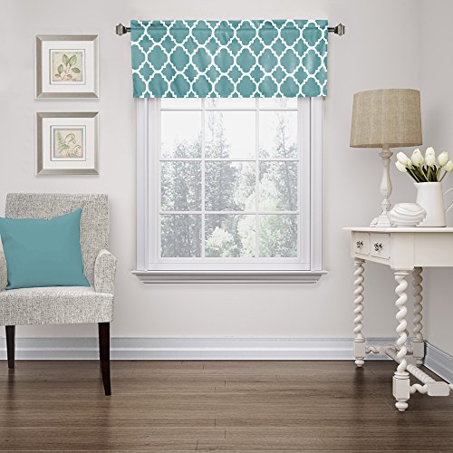 FlamingoP Moroccan Teal Valance Curtain Extra Wide and Short Window Treatment for for Kitchen Living Dining Room Bathroom Kids Girl Baby Nursery Bedroom 52