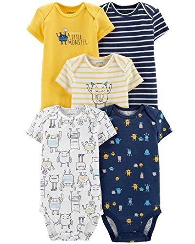 Carter's Baby Boys 5 Pack Bodysuit Set, Monsters, 18 Months]()