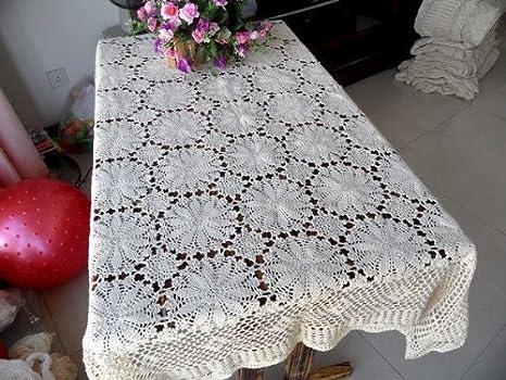 Nicedeco hecho a mano mantel de ganchillo Hollow Out mesa Rectangular Aprox.