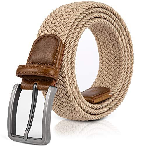 Jiguoor Braided Stretch Belt, Golf Elastic Fabric Woven Belts Casual Men/Women (Tan Skinny Belt Men)