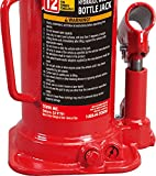 BIG RED T91203B Torin Hydraulic Welded Bottle Jack, 12 Ton (24,000 lb) Capacity, Red