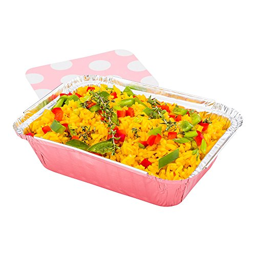 Disposable Aluminum Foil Take Out Food Containers, To Go Pans with Lids - 16 oz - Catering, Meal Prep, Carry Out - Pink Foil with Polka Dot Lid - 50ct Box - Restaurantware