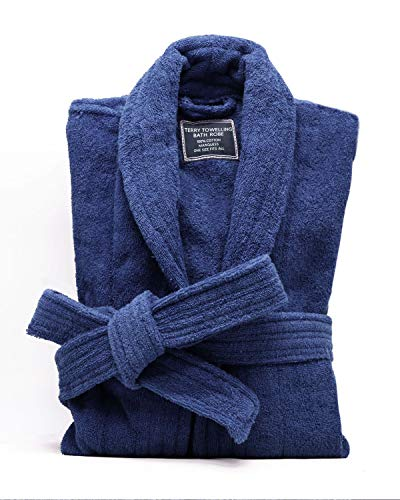 All-Cotton Bathrobe Thick Plush Cloth Housecoat Terry Toweling, Sweat Steaming Clothes Comfortable & Warm (Navy Blue)