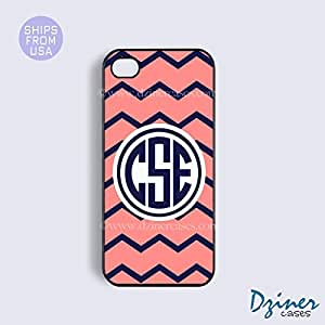 Monogram iPhone 5c Case - Coral Navy Blue Chevron Navy Circle iPhone Cover wangjiang maoyi