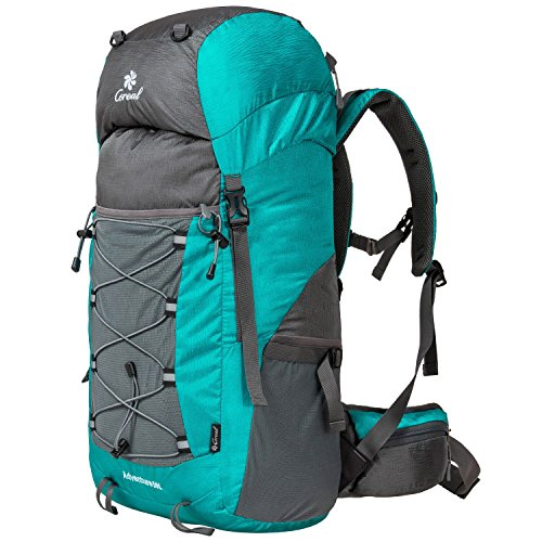 Coreal Unisex 50l Hiking Backpack for Travel Outdoor Sport Camping Trekking Lightweight Cyan