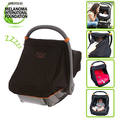 Uv Protection Babies - SnoozeShade Universal Car Seat Canopy | Blocks 99% of UV with 360-degree protection | Unisex Baby Car Seat Cover |