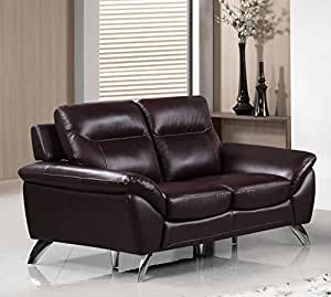 Cortesi Home Contemporary Monaco Genuine Leather Loveseat, Merlot