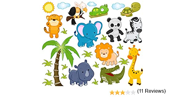 Etiquetas engomadas de animales de la selva de León espacio en forma de elefante de diseño de estampado de jirafa para niños de pared con diseño de adhesivo decorativo para pared con