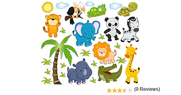 Etiquetas engomadas de animales de la selva de León espacio en ...
