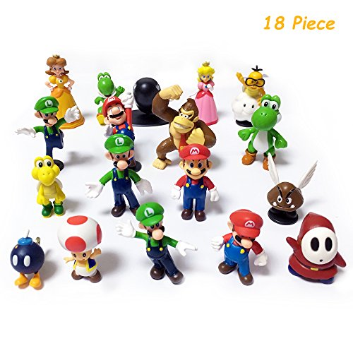 Warmbear Super Mario Brothers Action Figures, 18 Piece, 2''