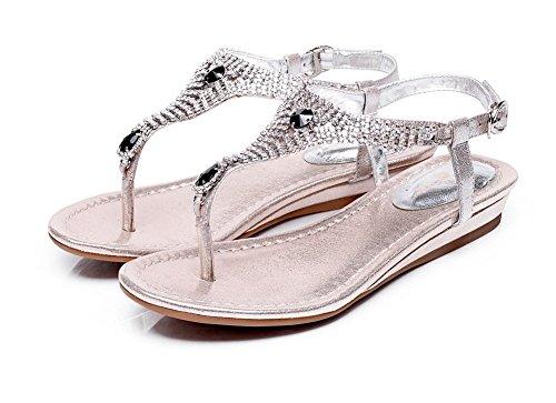 Adee Zapatos Bombas de oveja con hebilla de cristales Plateado - plata