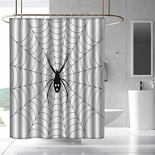 Fakgod Spider Web Bathroom Shower Curtain Poisonous Bug Venom Thread Circular Cobweb Arachnid Cartoon Halloween Icon Waterproof Colorful Funny W36 x L72 Black White]()