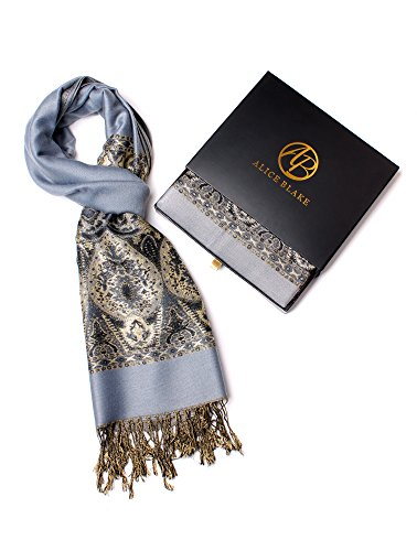 Alice Blake Premium Metallic Paisley Pashmina Scarf Shawl Wrap Free Gift Box ()