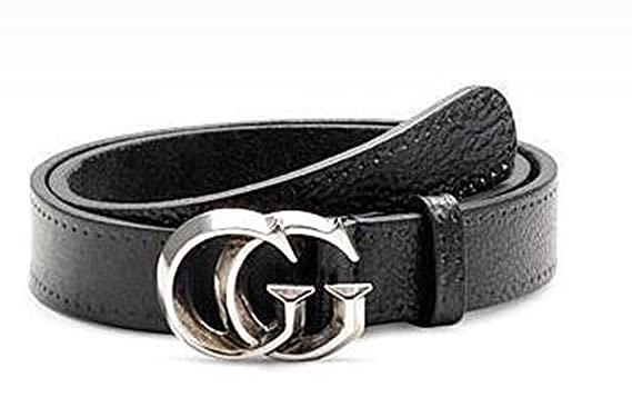 39cbb758f05 Amazon.com  Gucci Black Leather Belt with Sculpted Nickel GG Buckle ...