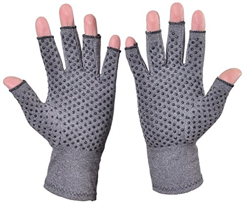 Woogwin Arthritis Compression Gloves - Open Gloves for Relief of Rheumatoid & Osteoarthritis Joint Pain, Fingerlss Hand Non-Slip Gloves for Typing Computer and Daily Work for Men & Women (Gray, L) by woogwin (Image #2)